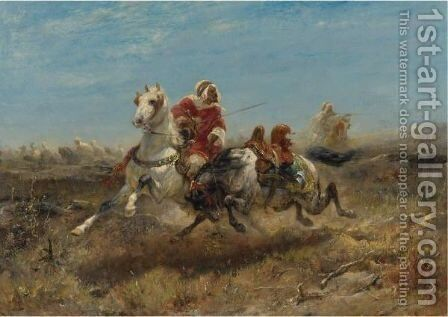 The Chase 3 by Adolf Schreyer - Reproduction Oil Painting