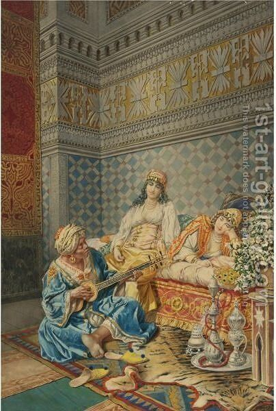 Music In The Harem by Camillo Gioja Barbera - Reproduction Oil Painting