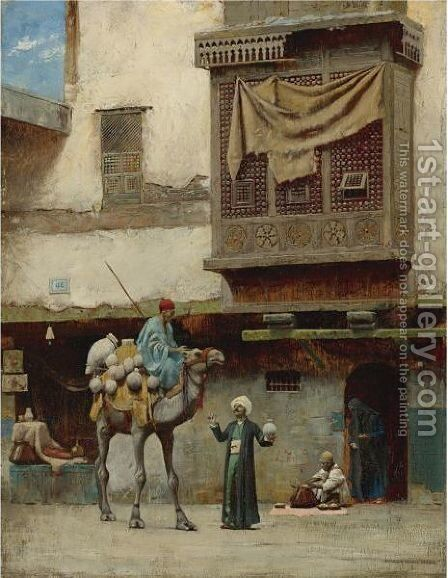 The Pottery Seller In Old City Cairo by Charles Sprague Pearce - Reproduction Oil Painting