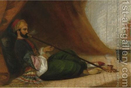 A Turk Smoking A Tchubuk by Adelaide Claxton - Reproduction Oil Painting