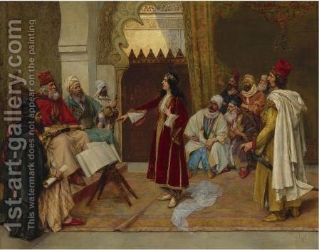 An Audience Before The Emir by Clement Pujol de Gustavino - Reproduction Oil Painting