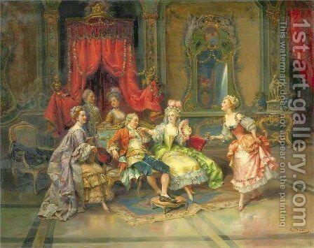 Louis XV In The Throne Room by Cesare-Auguste Detti - Reproduction Oil Painting