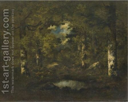 Birch Trees, Boulders And A Pond Fontainebleau Forest by Narcisse-Virgile Díaz de la Peña - Reproduction Oil Painting