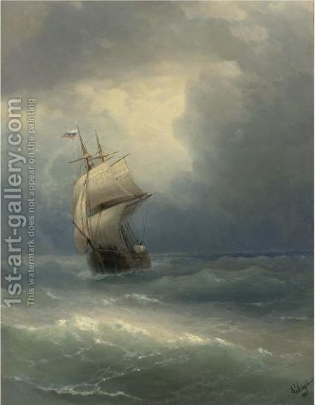 Ship At Sea, 1888 by Ivan Konstantinovich Aivazovsky - Reproduction Oil Painting