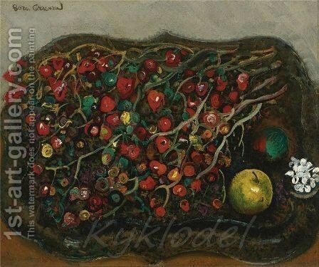 Still Life With Berries And Apples, 1930s by Boris Dmitrievich Grigoriev - Reproduction Oil Painting