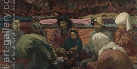 Under A Kirghiz Tent by Alexander Evgenevich Iacovleff - Reproduction Oil Painting