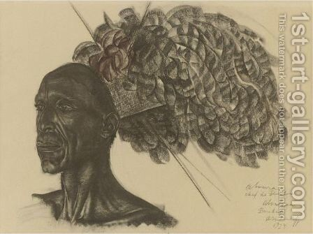 Abura, Chief Of The Ababua Tribe In Bambili, 1925 by Alexander Evgenevich Iacovleff - Reproduction Oil Painting