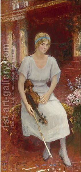 Portrait Of The Violinist Cecile Hansen, Circa 1922 by Ilya Efimovich Efimovich Repin - Reproduction Oil Painting