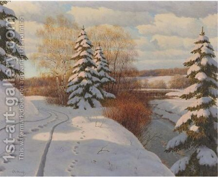 Winter In The Vosges by Boris Bessonof - Reproduction Oil Painting