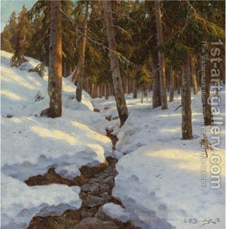 Winter Creek, 1915 by Ivan Fedorovich Choultse - Reproduction Oil Painting