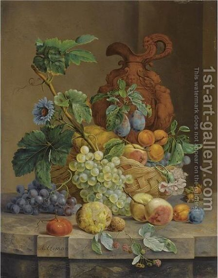 A Still Life With Fruit And Flowers by Anthony Oberman - Reproduction Oil Painting