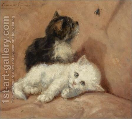 Two Kittens by Henriette Ronner-Knip - Reproduction Oil Painting