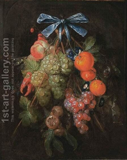 Festoon with Fruit and Flowers 1650s by Cornelis De Heem - Reproduction Oil Painting
