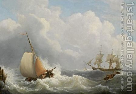 Sailing Vessels Off The Coast by Martinus Schouman - Reproduction Oil Painting