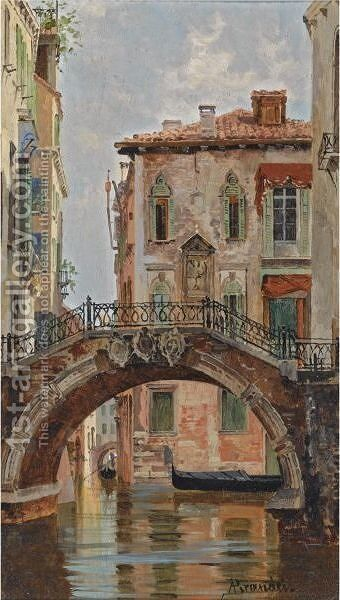 A Bridge Over A Venetian Canal by Antonietta Brandeis - Reproduction Oil Painting