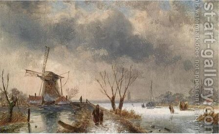 Skaters On The Ice, A 'Koek En Zopie' In The Background by Charles Henri Leickert - Reproduction Oil Painting