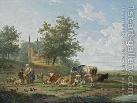 Milking Time by Anthony Jacob Offermans - Reproduction Oil Painting
