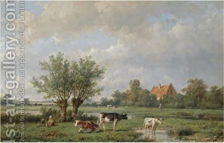 Cattle In A Summer Landscape by Anthonie Jacobus Van Wijngaerdt - Reproduction Oil Painting