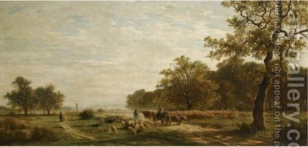 'Morning On The Common, Bavaria' by Adolf Heinrich Lier - Reproduction Oil Painting