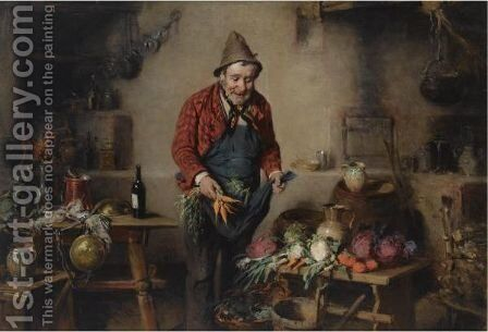 A Peasant In A Kitchen Interior by Hermann Kern - Reproduction Oil Painting
