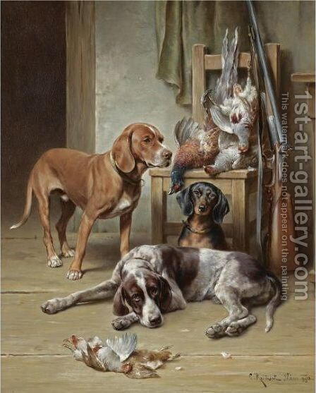 After The Hunt by Carl Reichert - Reproduction Oil Painting
