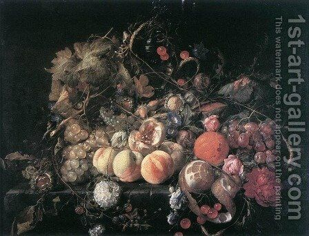 Still-Life with Flowers and Fruit by Cornelis De Heem - Reproduction Oil Painting