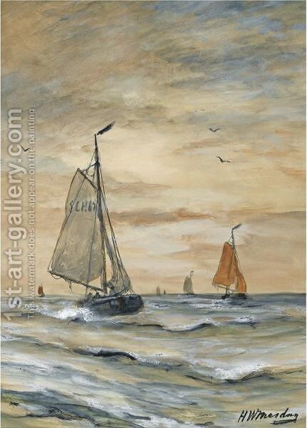 Bomschuiten At Sea 6 by Hendrik Willem Mesdag - Reproduction Oil Painting