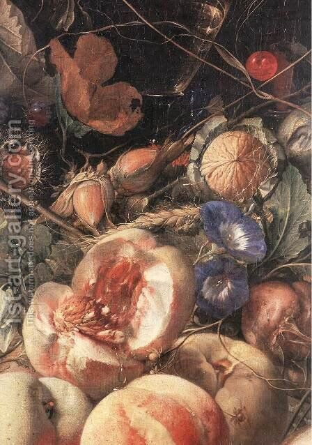 Still Life With Flowers And Fruit (detail) by Cornelis De Heem - Reproduction Oil Painting