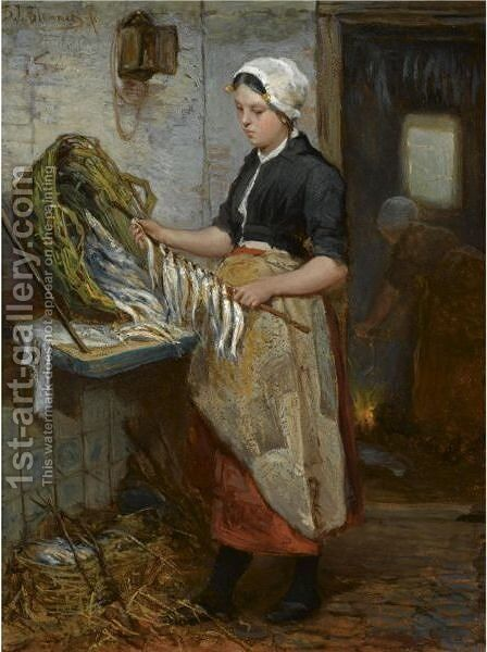 Preparing The Fish ('De Speetster') by Bernardus Johannes Blommers - Reproduction Oil Painting