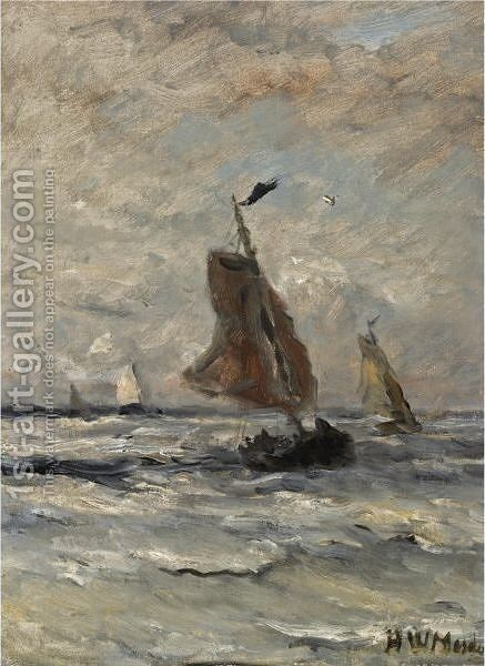 Bomschuiten At Sea 7 by Hendrik Willem Mesdag - Reproduction Oil Painting