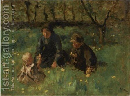 Children In The Fields by Jacob Simon Hendrik Kever - Reproduction Oil Painting