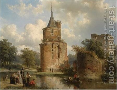 Figures At Leisure Near The Castle Of Wijk Bij Duurstede by Cornelis Springer - Reproduction Oil Painting