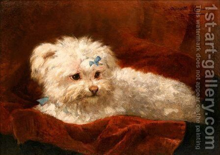 A Maltese by Henriette Ronner-Knip - Reproduction Oil Painting