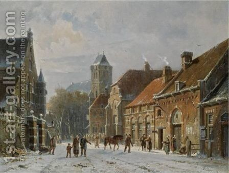 Figures In The Streets Of A Wintry Town 2 by Adrianus Eversen - Reproduction Oil Painting