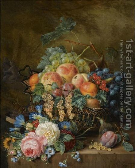 A Still Life With Fruit And Flowers by Adriana Van Ravenswaay - Reproduction Oil Painting
