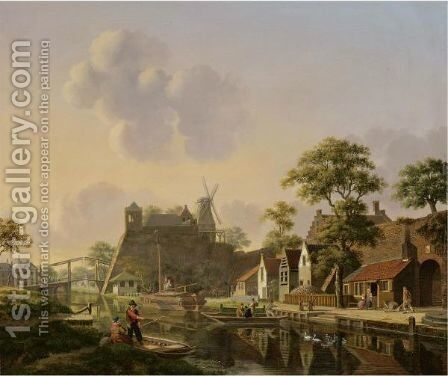 A Town At A Canal by Jan Hendrik Verheijen - Reproduction Oil Painting