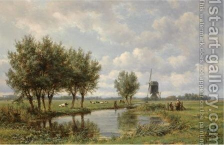 A Peasant Family On A Path Along A Waterway by Jan Willem Van Borselen - Reproduction Oil Painting