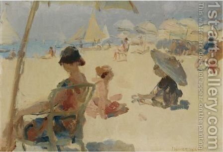 Figures On The Beach Of Il Lido Di Venezia by Isaac Israels - Reproduction Oil Painting