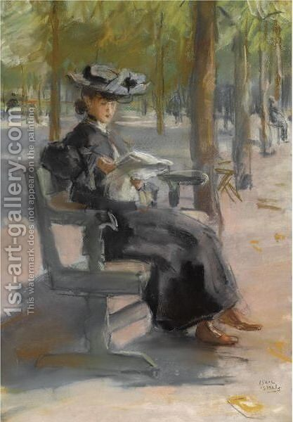 An Elegant Lady Reading In The Bois De Boulogne by Isaac Israels - Reproduction Oil Painting