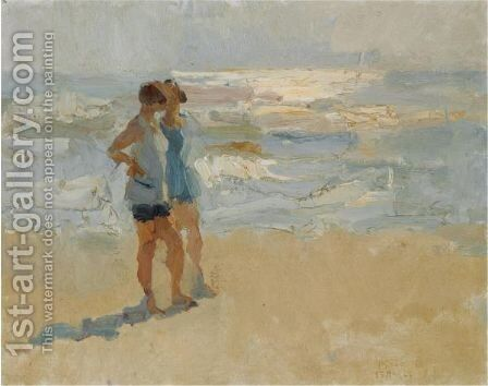Ladies On The Beach, Viareggio by Isaac Israels - Reproduction Oil Painting