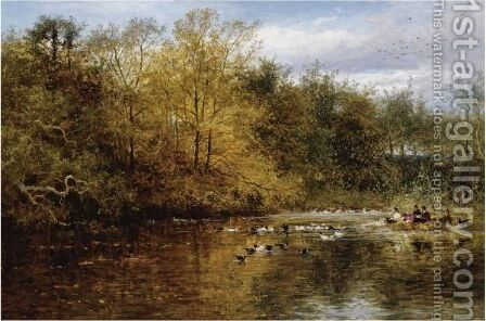 Feeding The Ducks by Benjamin Williams Leader - Reproduction Oil Painting