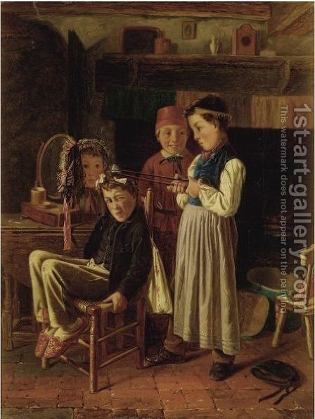 The Young Hairdresser by Charles Hunt - Reproduction Oil Painting
