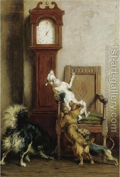 The Mouse Ran Up The Clock by Briton Rivière - Reproduction Oil Painting