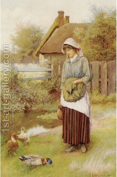 Feeding The Ducks by Charles Edward Wilson - Reproduction Oil Painting