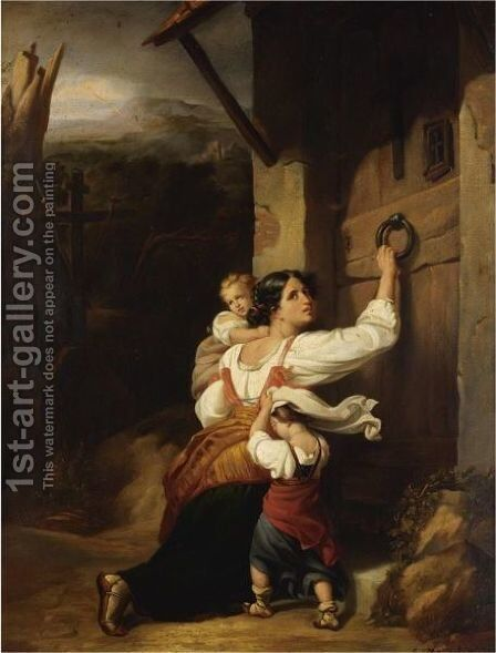 Mother And Children Fleeing by Giuseppe Mazzolini - Reproduction Oil Painting