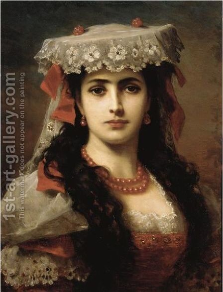 Portrait Of A Young Spanish Woman by Anton Ebert - Reproduction Oil Painting