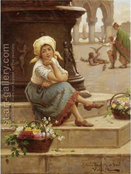 The Little Flower Seller by Antonio Paoletti - Reproduction Oil Painting