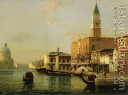 The Doge's Palace With Santa Maria Della Salute In The Distance by Antoine Bouvard - Reproduction Oil Painting