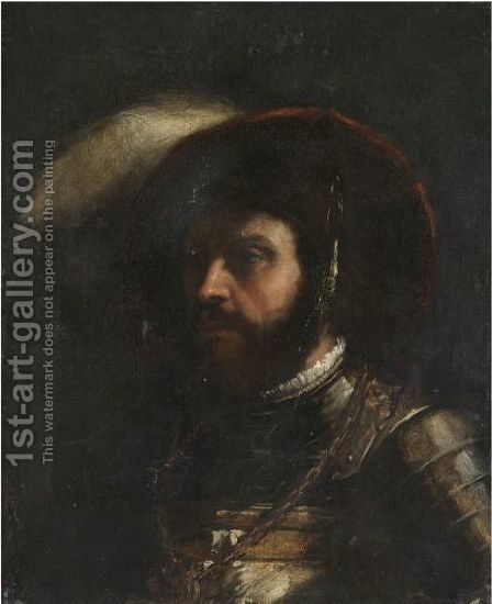 Head Of A Soldier by (after) Tiziano Vecellio (Titian) - Reproduction Oil Painting