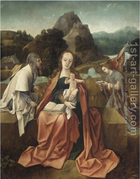 The Rest On The Flight Into Egypt by (after) Cornelis Engelbrechtsz - Reproduction Oil Painting